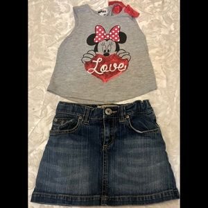 Girls Youth Minnie Mouse Tank Top & Jean Skirt 6
